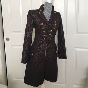 Bebe Military Coat XS Burgundy & gold